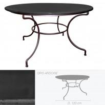 Table ronde en pierre de lave émaillée D.120 ardoise