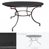 Table ronde en pierre de lave émaillée D.120 piétement rond directoire, Ardoise