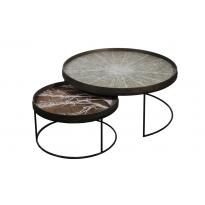 Set de 2 tables basses ROUND Extra Large de Ethnicraft Accessories, H.31/38