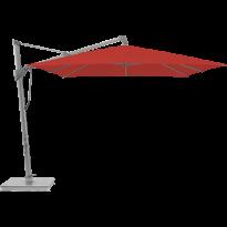 Parasol décentré SOMBRANO® S+ de Glatz, 350 x 350, Structure anodisé naturel, Toile 403 Carmine