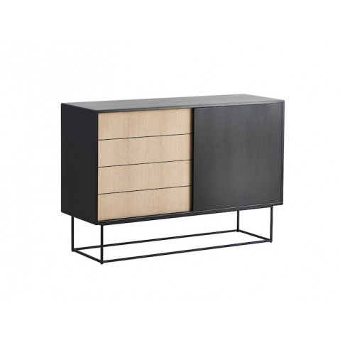 buffet haut virka de woud ch ne teint noir. Black Bedroom Furniture Sets. Home Design Ideas