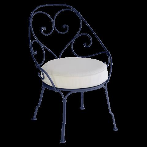 Fauteuil CABRIOLET de Fermob, Coussin blanc grisé, Bleu abysse