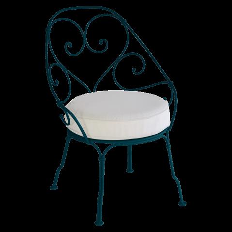 Fauteuil CABRIOLET de Fermob, Coussin Blanc grisé, bleu acapulco