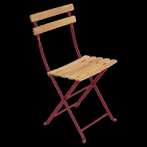 Chaise BISTRO NATUREL bois de Fermob, piment