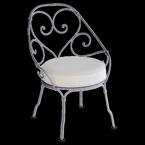 Fauteuil CABRIOLET de Fermob, Coussin blanc grisé, Prune