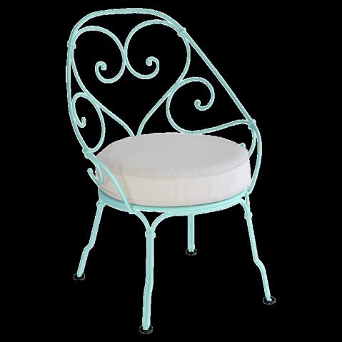 Fauteuil CABRIOLET de Fermob, Coussin blanc grisé, Bleu lagune