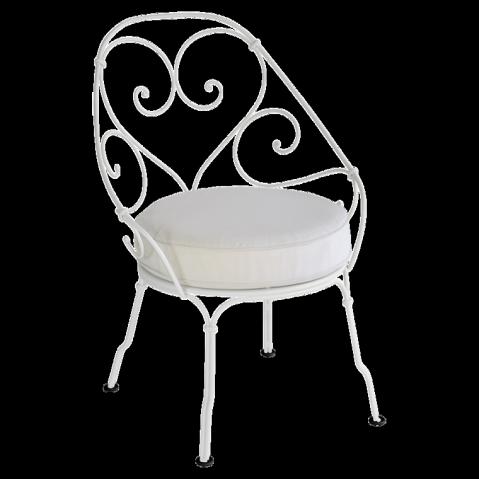 Fauteuil CABRIOLET de Fermob, Coussin blanc grisé, Gris métal