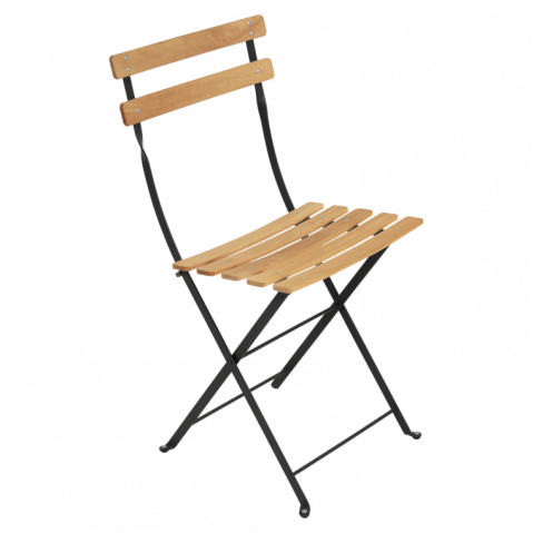 Chaise BISTRO NATUREL bois de Fermob, noir réglisse