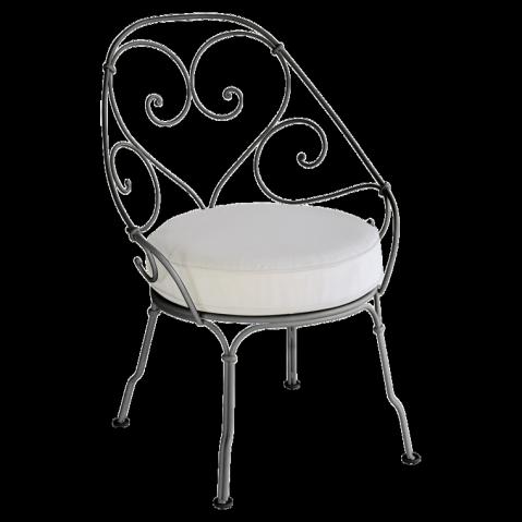 Fauteuil CABRIOLET de Fermob, Coussin blanc grisé, Réglisse