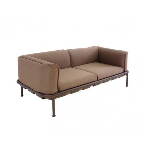 Sofa 2 places DOCK de Emu, Marron d'Inde avec coussins marron