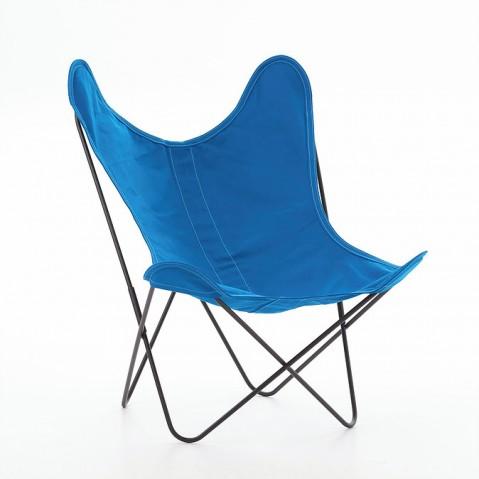 Fauteuil AA de Airborne, structure acier thermolaqué noir, Bleu Azur