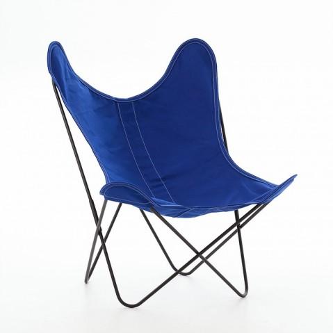 Fauteuil AA de Airborne, structure acier thermolaqué noir, toile bleu outremer