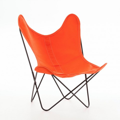 Fauteuil AA de Airborne, structure acier thermolaqué noir, toile orange