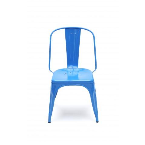 Chaise AC de Tolix acier laqué, Bleu océan