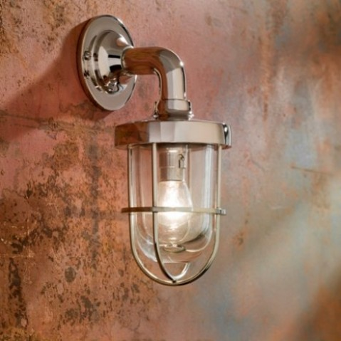 Applique Nautic BOUNTY WALL bronze nickelé poli verre clair