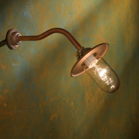 Applique Nautic BUTTERFLY 45° cuivre rouge avec réflecteur et verre clair