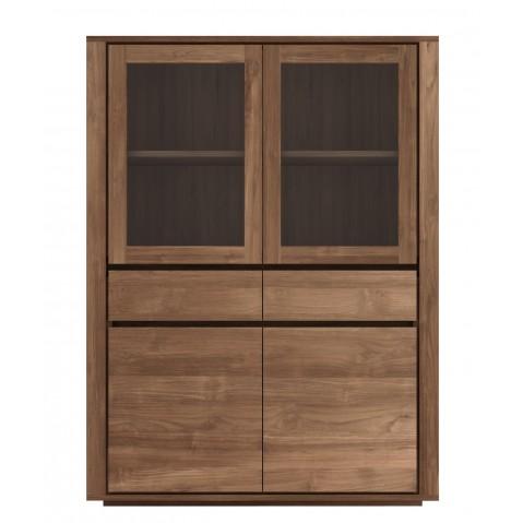 Armoire ELEMENTAL en teck d'Ethnicraft, 4 portes en verre / 2 tiroirs