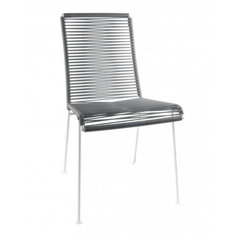 Chaise MAZUNTE de Boqa avec structure blanche, Gris fer