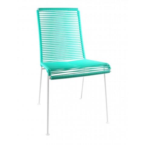 Chaise MAZUNTE de Boqa avec structure blanche, Vert turquoise