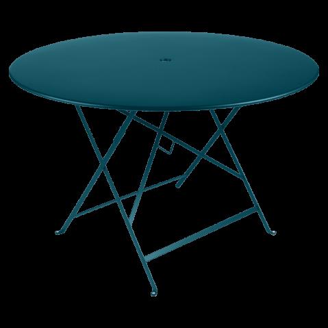 Table ronde pliante BISTRO de Fermob, D.117 x H.74 cm, bleu acapulco