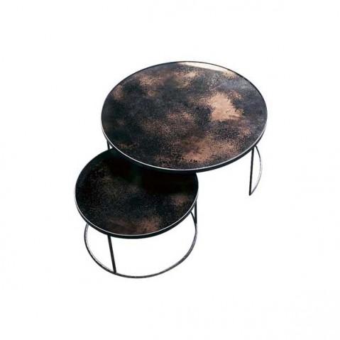 Set Round Nesting Coffee Table Bronze - Heavy Aged Mirror de Notre Monde