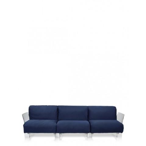 Canapé 3 places POP OUTDOOR de Kartell, Bleu, Structure transparente