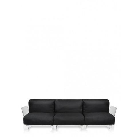 Canapé 3 places POP OUTDOOR de Kartell, Noir, Structure transparente