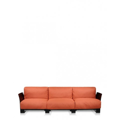 Canapé 3 places POP OUTDOOR de Kartell, Orange, Structure noir