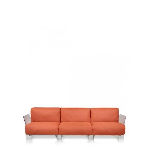 Canapé 3 places POP OUTDOOR de Kartell,  Orange, Structure transparente