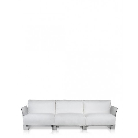 Canapé 3 places POP OUTDOOR de Kartell,  Sunbrella Blanc, Structure transparente