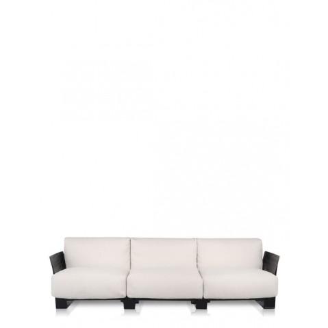 Canapé 3 places POP OUTDOOR de Kartell, Sunbrella Écru, Structure noir