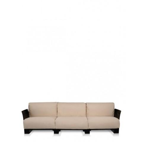 Canapé 3 places POP OUTDOOR de Kartell, Sunbrella Gris Tourterelle, Structure noir