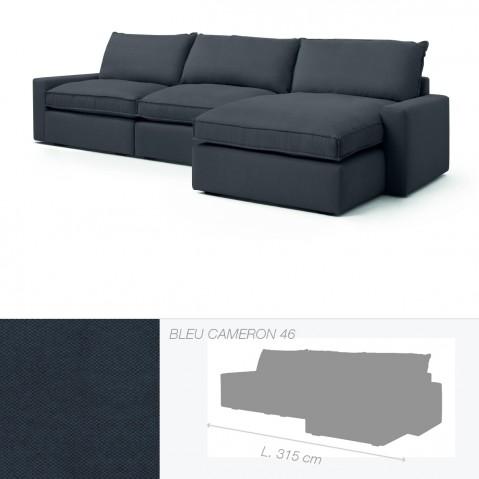Canapé DAKOTA de Marie's Corner chauffeuse à droite bleu Cameron 46