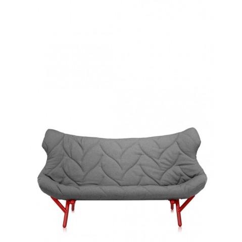 Canapé FOLIAGE de Kartell, Gris, Structure rouge