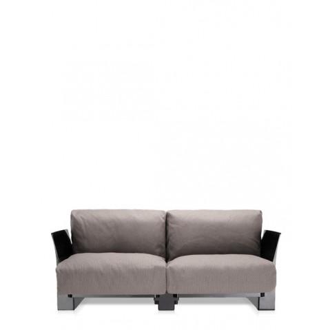 Canapé POP OUTDOOR de Kartell, Gris Tourterelle, Structure noir