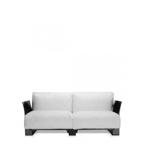 Canapé POP OUTDOOR de Kartell, Sunbrella Blanc, Structure noir