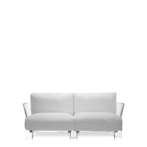 Canapé POP OUTDOOR de Kartell, Sunbrella Blanc, Structure transparente
