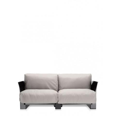 Canapé POP OUTDOOR de Kartell, Sunbrella Écru, Structure noir