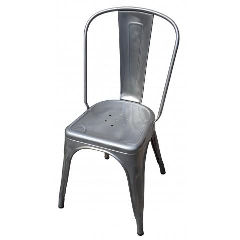 Chaise A de Tolix acier brut verni brillant