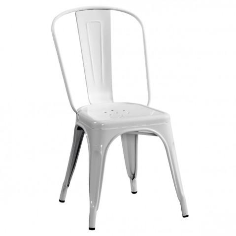 Chaise A de Tolix acier laqué blanc