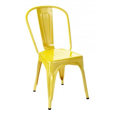 Chaise A de Tolix acier laqué, Citron