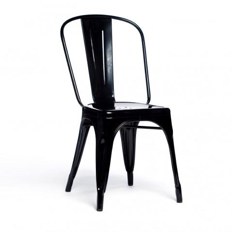 Chaise A de Tolix acier laqué noir