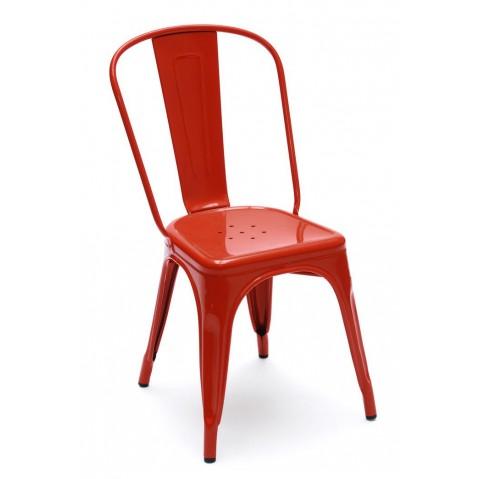 Chaise A de Tolix acier laqué, piment
