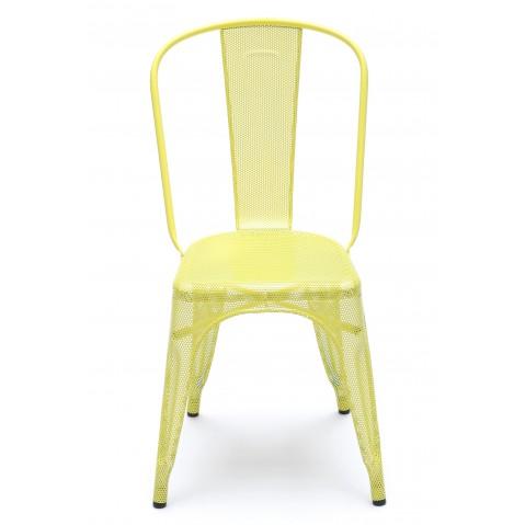 Chaise A perforée de Tolix inox laqué, 7 coloris