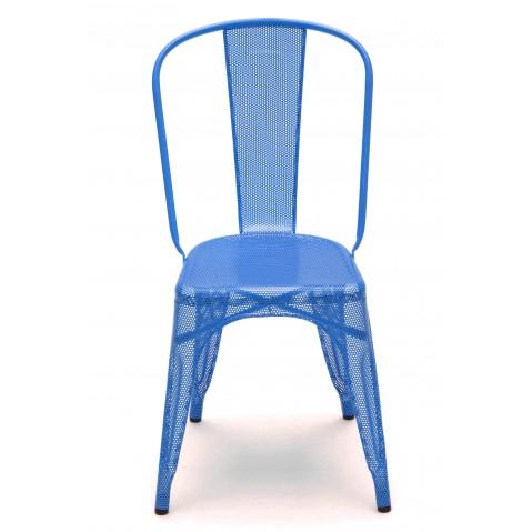 chaise a perfor e de tolix inox laqu bleu oc an. Black Bedroom Furniture Sets. Home Design Ideas