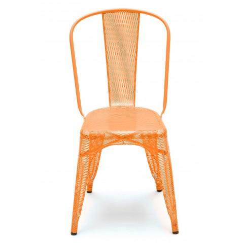 Chaise A perforée de Tolix inox laqué, Potiron