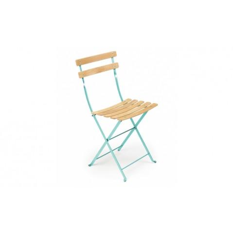 Chaise BISTRO NATUREL bois de Fermob, Bleu lagune