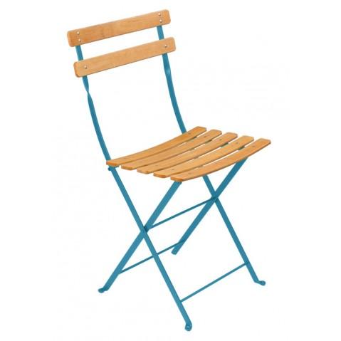 Chaise BISTRO NATUREL bois de Fermob, bleu turquoise