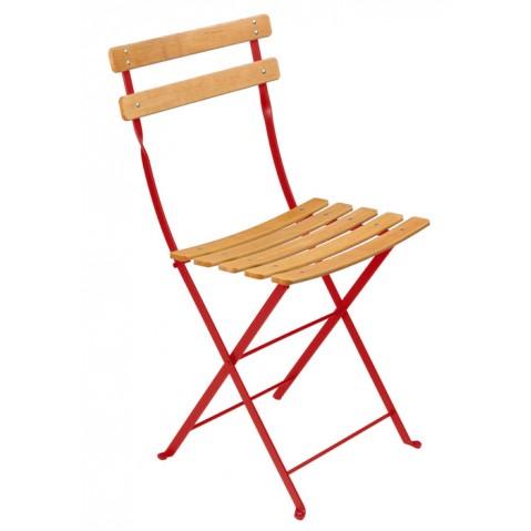 Chaise BISTRO NATUREL bois de Fermob coquelicot