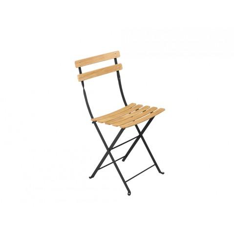 Chaise BISTRO NATUREL bois de Fermob noir réglisse